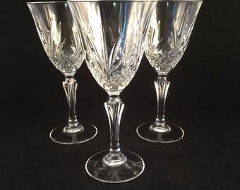 Set of 3 Masquerade Stemmed Glasses, Goblets, Wine Glasses, Drinking Glasses 7 oz.