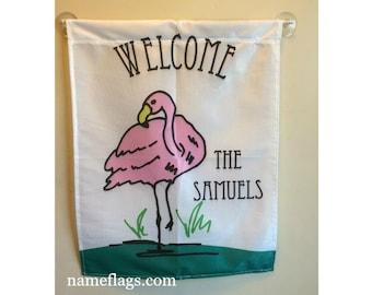 Personalized Flamingo Flag, Garden or House Flag, Flamingo Flag 2