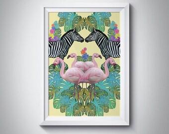 Animals art print - zebra art print - flamingo art - animal illustrations - Jungle art - animal artist - flamingos art - A4 FREE SHIPPING UK