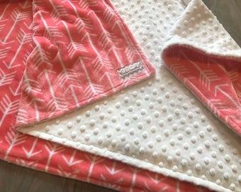 Coral Arrows Double Minky Baby Blanket, SALE!