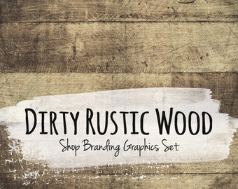 Rustic Wood Shop Branding Banners, Avatar Icons, Business Card, Logo Label + More - 12 Premade Graphics Files - DIRTY RUSTIC WOOD