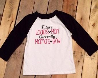 Boy Valentine's Day Shirt - Future Ladies Man Current Mama's Boy - Valentine's Day YOUTH - Raglan - Boys Baseball Tee