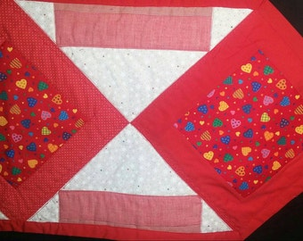 Red, White, Pink, Valentine Table Runner, Table decor, Made in Michigan, Hearts