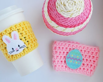 Easter Coffee Cozy, Bunny Coffee Cozy, Easter Egg Coffee Cozy, Coffee Cozy, Spring Coffee Cozy
