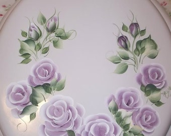 NEW* Round wood TOILET SEAT, Hand Painted, Purple Cottage Roses,  Light Plum Floral,  Bathroom decor, Victorian, French Country, Powder Room