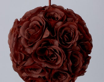 Silk kissing pomander flower ball BROWN