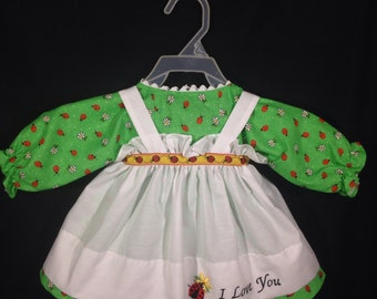 Dress and Apron for 25 inch Raggedy Ann Doll; Light Green Ladybug Print Dress with Embroidered Apron