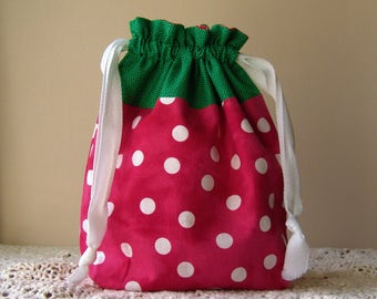 Strawberry FRUIT BAG, knitting project bag, medium project bag, sock sack, drawstring pouch