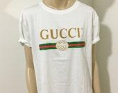 WHITE or BLACK GUCCI logo Inspired Faux T-Shirt Fashion Hip Hop Retro   Coachella   Fashion  One Size (S-M)   Free Shipping Domestic