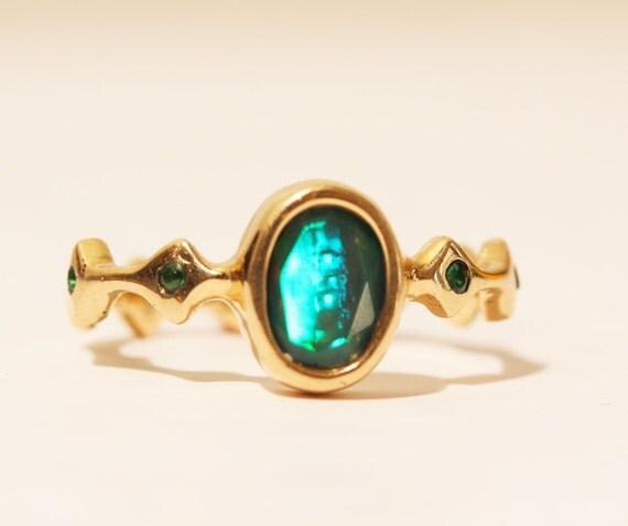 Genuine Opal Ring 14k Gold w/ Diamond Accents - Size 8.5 - Custom Gemstone Jewelry Watch Video! #1426