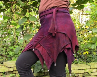 Red brown purple pixie wrapskirt, with bells, Elven skirt, Fairy miniskirt, also for plus size pixies, Festival Goa Psytrance gypsy skirt