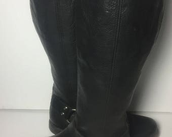 Frye 76850 Phillip Harness Tall Black Leather Biking Riding Motorcycle Boots Women's Size 7.5