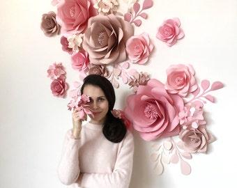 Wedding Paper Flowers - Paper Flowers Wall - Paper Flower Set - Paper Flower Backdrop - Paper Flower Reception