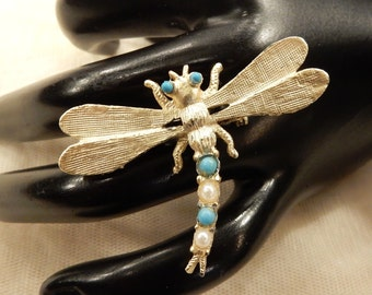 Vintage Faux Pearl and Turquoise Seed Bead Dragonfly Brooch
