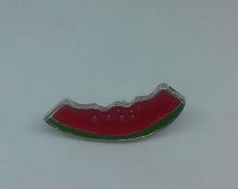 A juicy half eaten watermelon enamel brooch pin