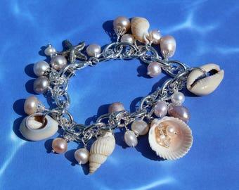 Silver sea treasures charm bracelet