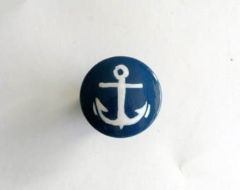 Sale - Navy Blue and White Anchor Hand Painted Drawer Knob, Ready to Ship, Nautical Drawer Pull