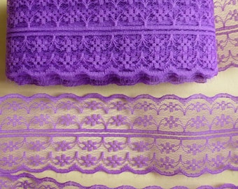 Purple lace trim ribbon. Double edged lace.   4mm wide.  sewing, wedding, hair accessories