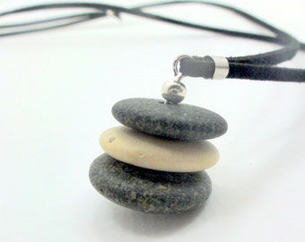 Zen necklace Natural Beach Stones Israel Jewelry Cairn necklace Natural jewelry Boho Fashion Rustic Jewelry Men Women Jewelry