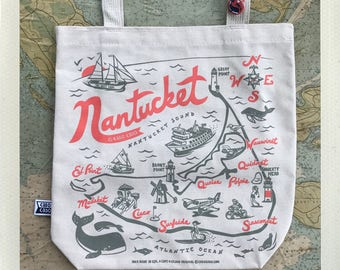 Nntucket Tote Bag Natural • Red & Grey