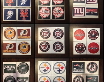 Set of 4 Custom Made Coasters NFL, MLB, NCAA, nhl, family photos or any other logo.