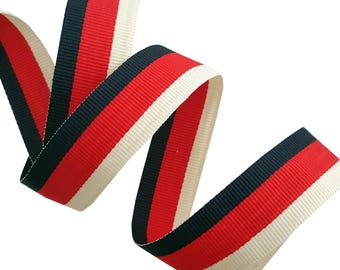 Gross Grain Gucci Style White Red Blue Trim Ribbon, Double Face Trim