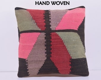 18x18 experience decorative pillow fingerplaiting throw pillow salon kilim pillow recycled pillow cover southern pillow case pink rug C1541
