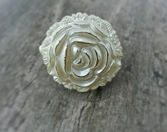 Vintage Flower Button Adjustable Ring