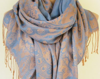 Blue and Brown Pashmina Scarf Oversize Scarf Fall Winter Scarf Large Scarf Women Fashion Accessories Holiday Christmas Gift Ideas For Her