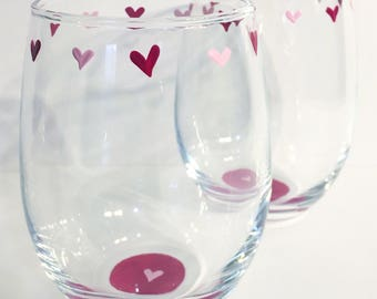 Pink Hearts Handpainted Stemless Wine Glasses