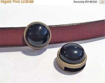 SALE: 1 Brass and Black Onyx Slider for 10mm Flat Leather, bracelet finding, jewelry supplies