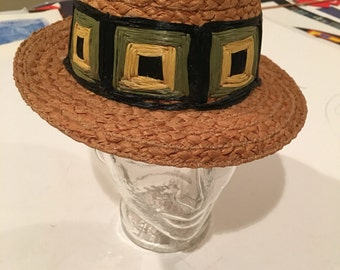 Unique Italian made straw vintage resort hat!! Mod colors! Ladies or small mens