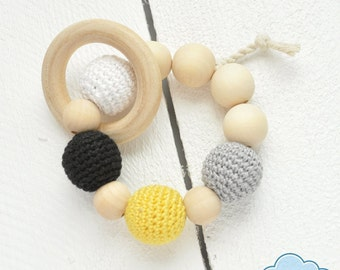 Baby Teething Toy, Wooden Teether, Wood Teething Toy, Modern Baby Rattle