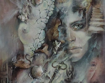 """Abstract canvas contemporary surrealism """"Illusion of the past""""."""