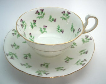 1910's Aynsley Tea Cup and Saucer,  Aynsley Thistle tea cup and saucer, Wide Mouth tea cup.