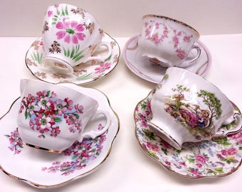 Mismatched Floral China Tea Cup & Saucers (4), Pink White Floral