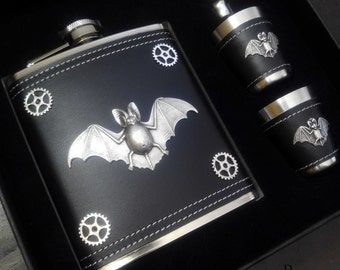 10% off sale17 Steampunk flask and cup set - mens steampunk gift - steampunk bat flask - gothic flask - vampire flask - steampunk flask