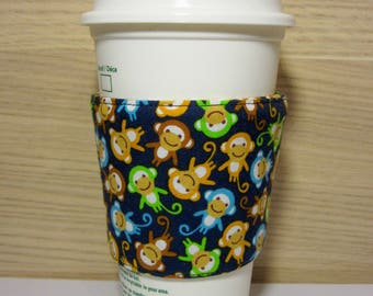 Monkeys Fabric Coffee Cozy