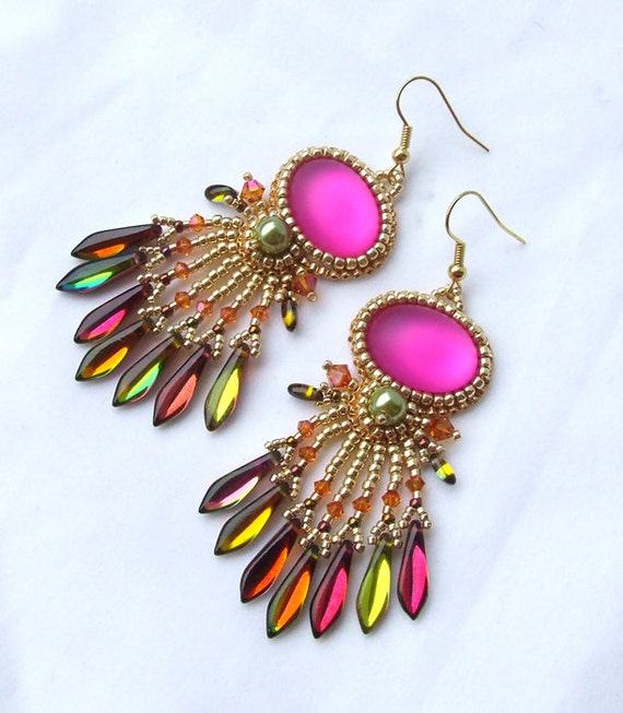 Beaded earrings tutorial dangle pattern beading