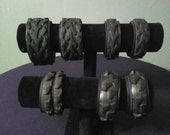 Bicycle Tire Post Apocalyptic Black Leather Bracelet