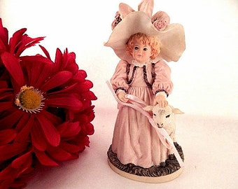 Figurine Victorian Girl with Lamb  Heirloom Tradition Special Friends H1317 Maud Humphrey Bogart 1988 Hamilton Gifts Collectible