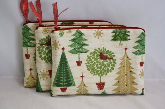 Zipper Pouch 7.25 X 5 Inches In Christmas Tree Print Cotton
