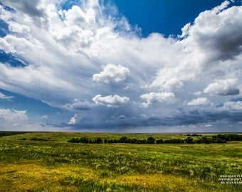 Spring Photography, Landscape Picture, Midwestern Art, Bright Colors, Land Photography, Grassland, Prairie Print, Western Picture, Horizon