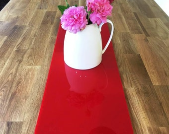 Rectangular Table Runner in Red Gloss Finish 3mm Acrylic - 2 Sizes Available