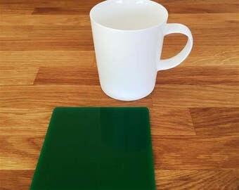 Square Green Gloss Finish Acrylic Coasters