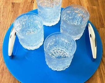 """Round Serving Tray with Chrome Handles in Bright Blue Gloss Finish 3mm Thick & Rubber Feet. Size 32cm, 12.5"""""""