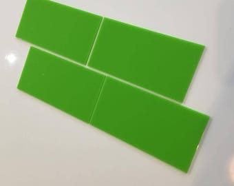 "Lime Green Gloss Acrylic Rectangle Crafting Mosaic & Wall Tiles, Sizes: 1cm to 25cm -  1"" to 10"""