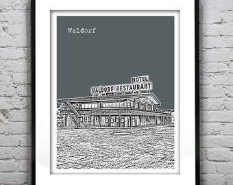 Waldorf Skyline Poster Art Print Maryland MA Version 1