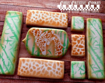 Giraffe and baby,  One dozen (12) Custom Decorated cookies