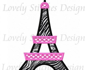 Eiffel Tower Applique Machine Embroidery Design NO:0583